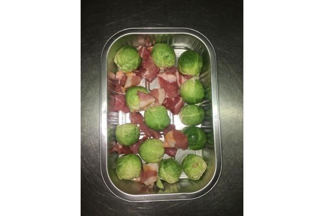 Brussel Sprouts & Bacon Lardons Ready to Roast
